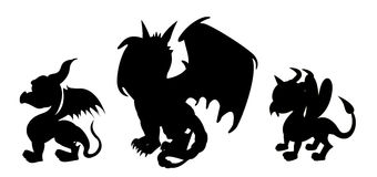 Dragon cartoon silhouettes vector illustration