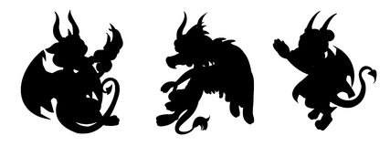 Dragon cartoon silhouettes. Collection of silhouettes of illustrations of little flying fairytale dragons, isolated on a white background Stock Images