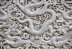 Dragon carving - close up Stock Photos