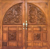 Dragon carving door Stock Image