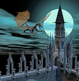 Dragon castle. 3d render of a castle with dragon Royalty Free Stock Photography