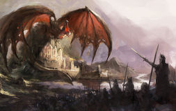 Dragon castle stock illustration