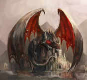 Dragon castle. Lazy dragon sleeping on casatel Royalty Free Stock Photography