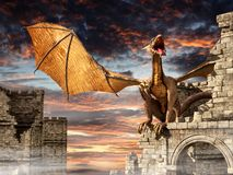 Dragon on castle vector illustration