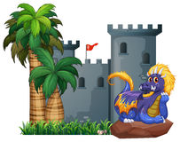 Dragon and a castle Stock Image