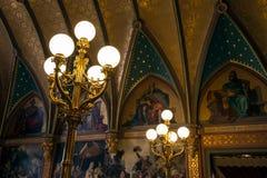 Dragon Castle, lanternas, escadas principais foto de stock