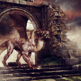 Dragon in castle ruins. Brown dragon walking among ruins of an old castle Stock Image