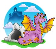 Dragon with cave and castle 2 Royalty Free Stock Images