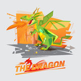 Dragon character with castle in background. typographic design -. Dragon character throwing fire with castle in background. typographic design -  illustration Royalty Free Stock Photography