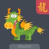 Dragon character Chinese zodiac hieroglyph funny cartoon. Vector Royalty Free Stock Images