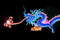 Dragon Chinese. On black color isolation background Stock Image