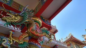 The dragon. Chinese dragon in the chinese temple at Bangsean Chonburi province Thailand Royalty Free Stock Photography