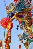 Dragon Chinese-het standbeeld van de stijldraak in de tempel Royalty-vrije Stock Afbeeldingen