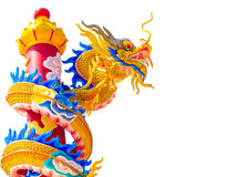 Dragon chinese isolated on white background. Colorful dragon chinese isolated statue  on white background Stock Images