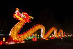 Dragon Chinese Lantern Festival. Chinese Lantern Festival lit up at night to celebrate the Chinese New Year Stock Photography