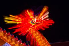 Dragon Chinese Lantern Festival Zoom effekt Royaltyfri Fotografi