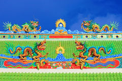 Dragon. Chinese dragon on the roof of a shrine Stock Photos