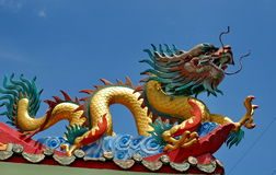 Dragon on Chinese shrine roof top Royalty Free Stock Photos