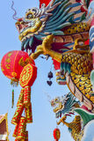 Dragon Chinese style dragon statue in the temple Royalty Free Stock Images