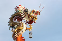 Dragon in Chinese temple at Ayutthaya, Thailand. Royalty Free Stock Image