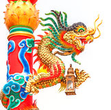 Dragon in a Chinese temple. Colorful dragon statue on china temple Royalty Free Stock Photo