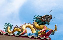 Dragon on chinese temple roof.  royalty free stock photos