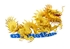 Dragon on chinese temple roof isolated on white background. With clipping path royalty free stock image