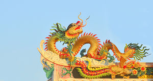 Dragon on the Chinese temple roof. Royalty Free Stock Photography