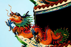 Dragon at chinese temple's roof Stock Photos