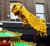 Dragon chinese yellow asian religious animal art. Culture Royalty Free Stock Photos