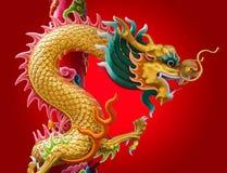 Dragon chinois avec le fond rouge Image libre de droits