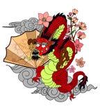Dragon chinois avec le tatouage d'éclaboussure de fleur et d'eau de Sakura Vecteur d'art de fleur de pêche de tigre et de cerise  images libres de droits