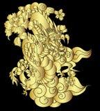 Dragon chinois avec le tatouage d'éclaboussure de fleur et d'eau de Sakura Vecteur d'art de fleur de pêche de tigre et de cerise  photo stock