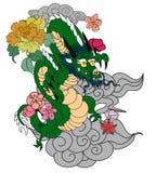 Dragon chinois avec le tatouage d'éclaboussure de fleur et d'eau de Sakura Vecteur d'art de fleur de pêche de tigre et de cerise  photographie stock