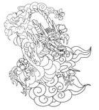 Dragon chinois avec le tatouage d'éclaboussure de fleur et d'eau de Sakura Vecteur d'art de fleur de pêche de tigre et de cerise  photos stock