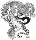 Dragon chinois contre le tatouage noir et blanc de tigre illustration stock