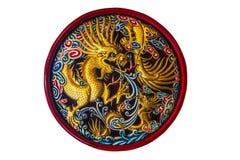 Dragon chinois découpé par bois Images stock