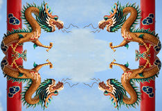 Dragon chinois d'or jumeau Image stock
