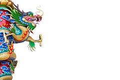 Dragon chinois sur le pôle avec le chemin de découpage Images stock