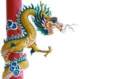Dragon chinois sur les milieux blancs. Images libres de droits