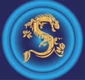 Dragon chinois vert et jaune sur le vecteur noir de fond Images libres de droits
