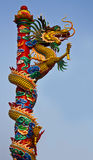 Dragon climbs. A dragon climbs a pole very high Stock Photo