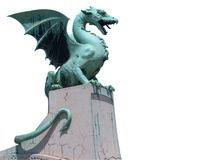 Dragon with clipping path. Dragon from bridge in Ljubljana - Slovenia Stock Images