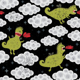 Dragon in the clouds seamless background. Vector pattern Stock Photography