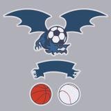 Dragon club logo. Dragon football, basketball, baseball, soccer team emblem. EPS10 vector illustration Royalty Free Stock Image