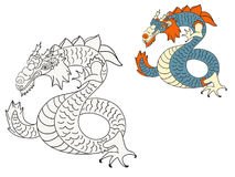 Dragon coloring page. With example in color Royalty Free Stock Photo