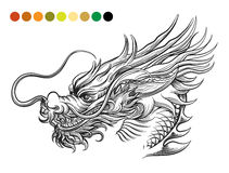 Dragon coloring page template Royalty Free Stock Photos