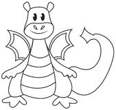Dragon coloring page Royalty Free Stock Photos
