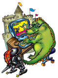Dragon, computer, and knight Stock Image