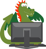 Dragon On Computer Stock Images